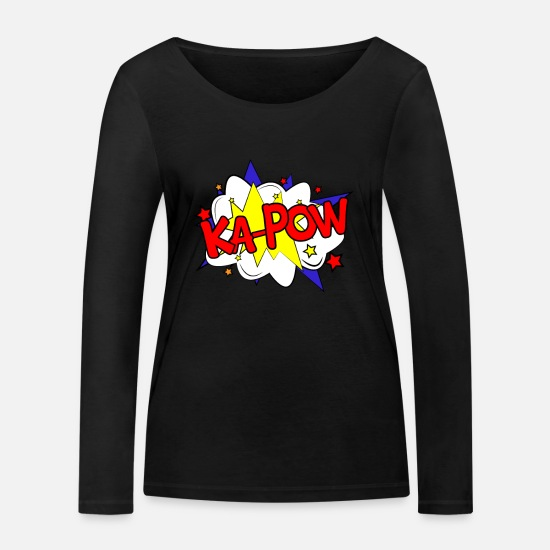 Animal Long sleeve shirts - Ka Pow Comic Comic Style Comic Strip Comic Strip - Women's Organic Longsleeve Shirt black