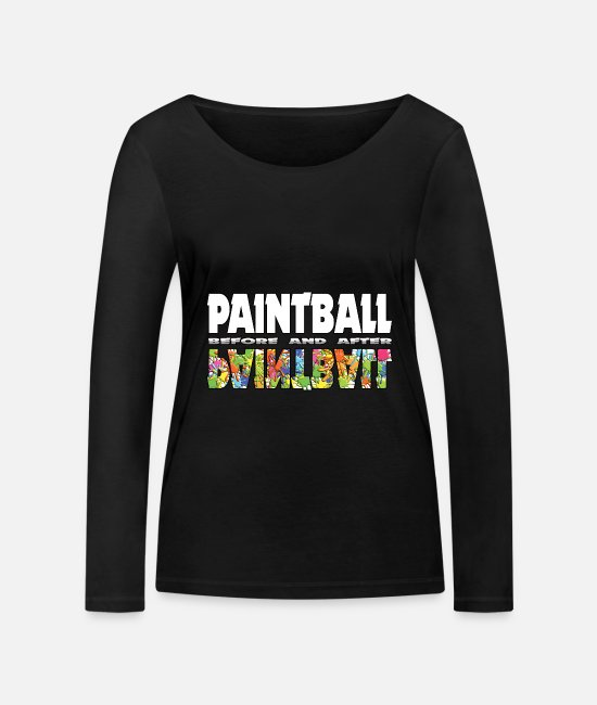 Gotcha Long sleeve shirts - Paintball funny Before and After Statement - Women's Organic Longsleeve Shirt black