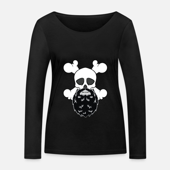 Pirate Long sleeve shirts - Bearded Pirate Skull without eye Patch Crossbones - Women's Organic Longsleeve Shirt black