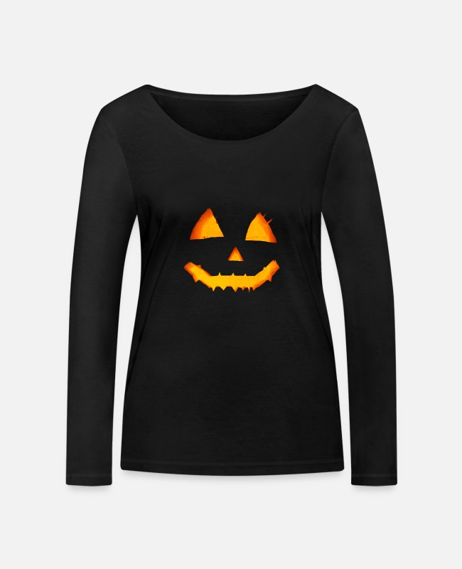 Full Moon Long-Sleeved Shirts - Halloween scary pumpkin - Women's Organic Longsleeve Shirt black