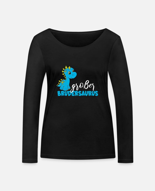 2019 Long-Sleeved Shirts - T Shirt Big Brother Dino Brothersaurus - Women's Organic Longsleeve Shirt black