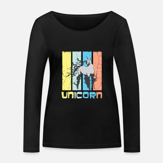 Mythical Creature Long Sleeve Shirts - Unicorn Cool Unicorn Shirt - Women's Organic Longsleeve Shirt black