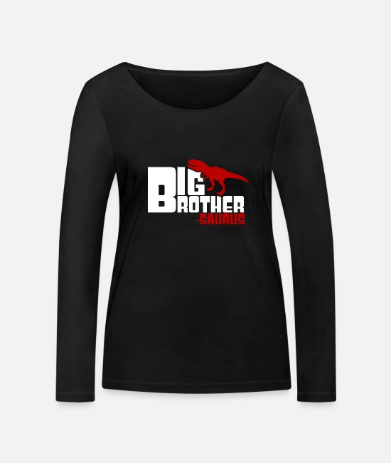 Dinosaurs Long-Sleeved Shirts - Big BrotherSaurus Cute Older Sibling Dinosaur - Women's Organic Longsleeve Shirt black