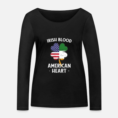 Shamrock Irish Blood American Heart St Patrick's Day - T-shirt manches longues bio Femme
