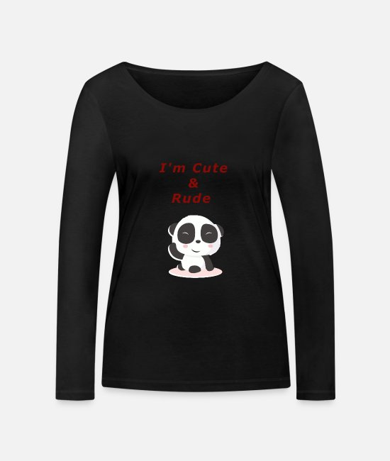 Rude Long sleeve shirts - cute & redhead panda - Women's Organic Longsleeve Shirt black