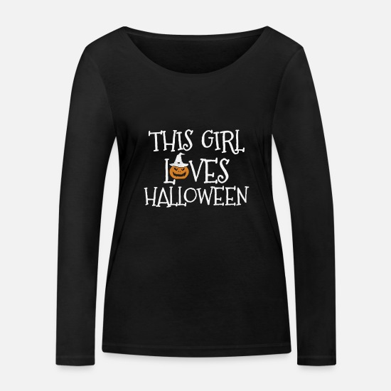 Horror Long sleeve shirts - THIS GIRL LOVES HALLOWEEN - Women's Organic Longsleeve Shirt black