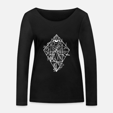 Draw Gemstone crystal diamond floral flowers eye - Women's Organic Longsleeve Shirt