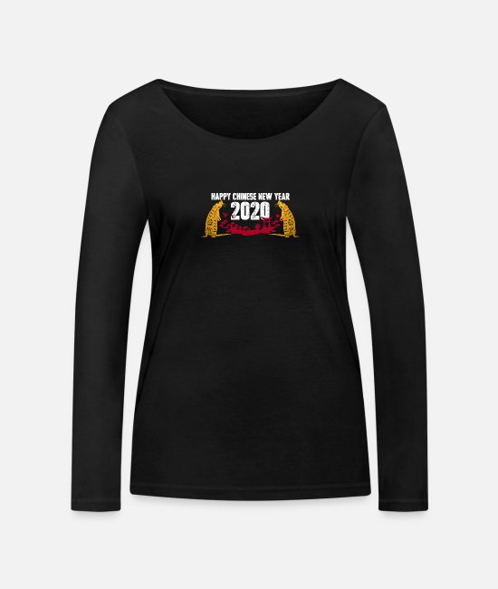 Chinese Writing Long sleeve shirts - Chinese new year 2020 year of the rat gift - Women's Organic Longsleeve Shirt black