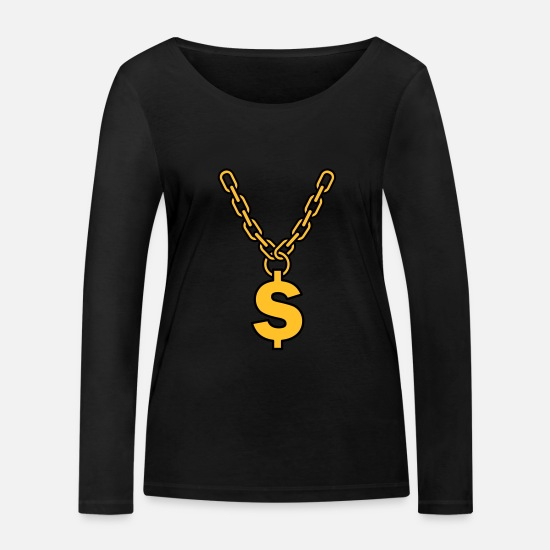 Gold Long sleeve shirts - dollar chain - Women's Organic Longsleeve Shirt black