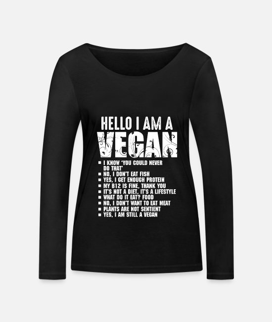 Bless You Long-Sleeved Shirts - Funny Pro Vegan Activism Gymnastics Athlete Vegan - Women's Organic Longsleeve Shirt black