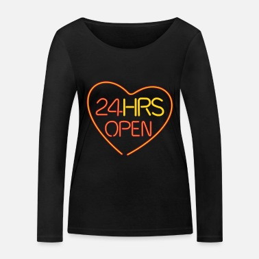 Text open heart - Frauen Bio Langarmshirt