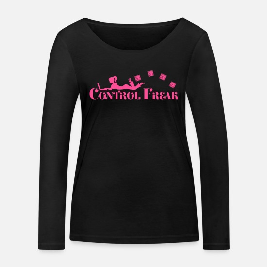 Gift Idea Long sleeve shirts - Control freak. Sexy woman with laptop - Women's Organic Longsleeve Shirt black