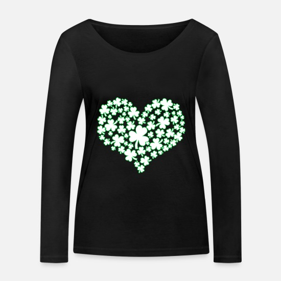 Day Long Sleeve Shirts - Heart - St Patricks Day - St Patricks Day - Kleebl - Women's Organic Longsleeve Shirt black