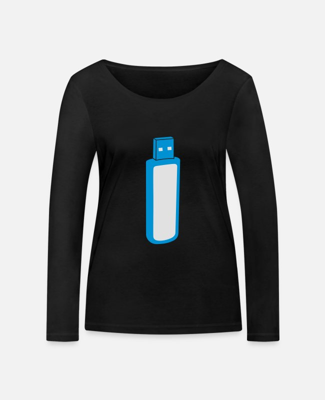 Virus Long-Sleeved Shirts - USB-Stick - Women's Organic Longsleeve Shirt black