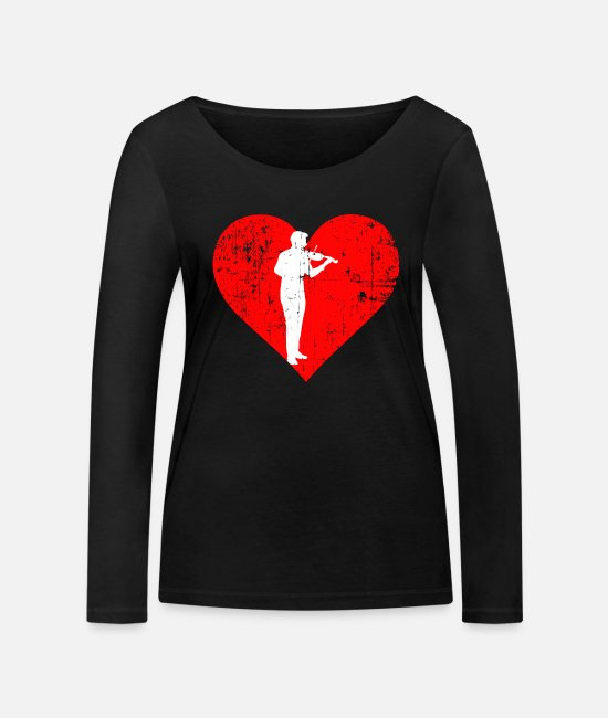 Hobby Cook Long-Sleeved Shirts - I LOVE VIOLIN - Women's Organic Longsleeve Shirt black