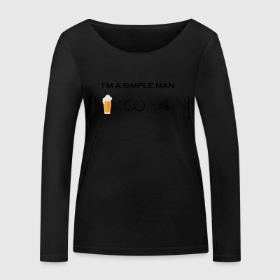 simple man boobs beer beer tits motorcycle oldtim - Women's Organic Longsleeve Shirt by Stanley & Stella
