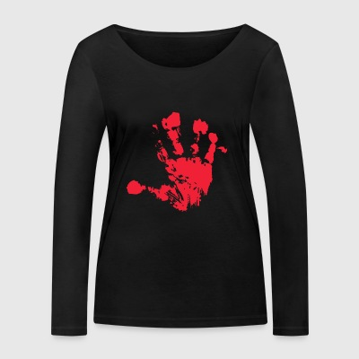 Handprint red - Women's Organic Longsleeve Shirt by Stanley & Stella
