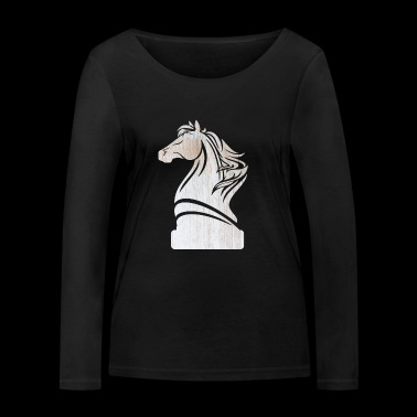 Chess, checkmate checkerboard horse gift idea - Women's Organic Longsleeve Shirt by Stanley & Stella