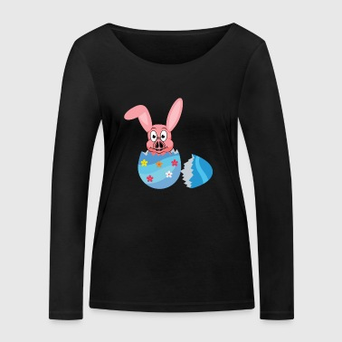 Easter pig with rabbit ears Easter egg T-shirt - Women's Organic Longsleeve Shirt by Stanley & Stella
