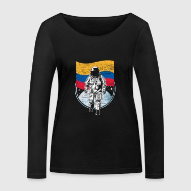 Colombia flag in space Astronaut moon landing - Women's Organic Longsleeve Shirt by Stanley & Stella