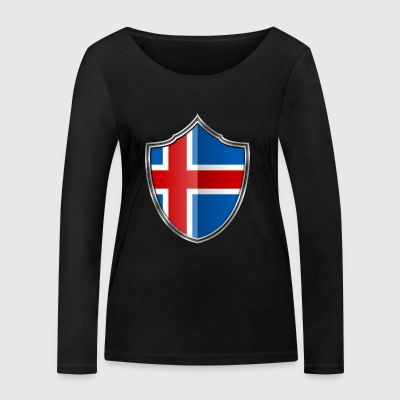 Iceland flag coat of arms silver 015 - Women's Organic Longsleeve Shirt by Stanley & Stella