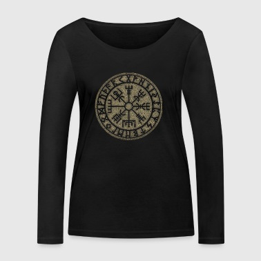 Vegvisir Futhark runes, Viking magic protection icon - Women's Organic Longsleeve Shirt by Stanley & Stella