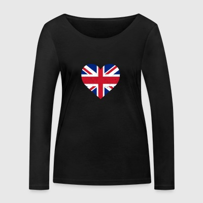 UK Flag Shirt Heart - Brittish Shirt - Økologisk Stanley & Stella langærmet T-shirt til damer