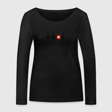 EKG heartbeat SWITZERLAND png - Women's Organic Longsleeve Shirt by Stanley & Stella