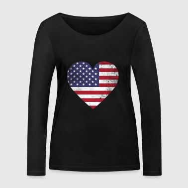Gift USA flag American flag - Women's Organic Longsleeve Shirt by Stanley & Stella