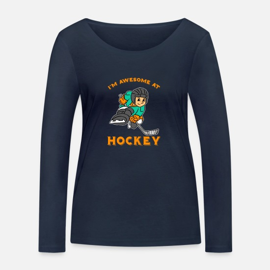 Goalie Long sleeve shirts - I'm Awesome At Hockey - Women's Organic Longsleeve Shirt navy