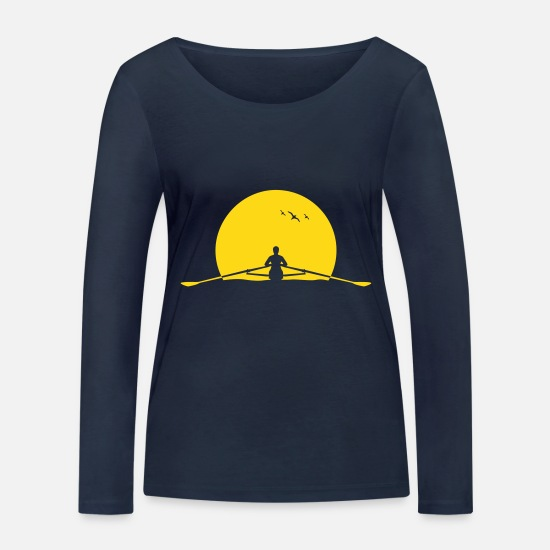 Rowing Long Sleeve Shirts - Rowing sunset rower rowing skulls - Women's Organic Longsleeve Shirt navy