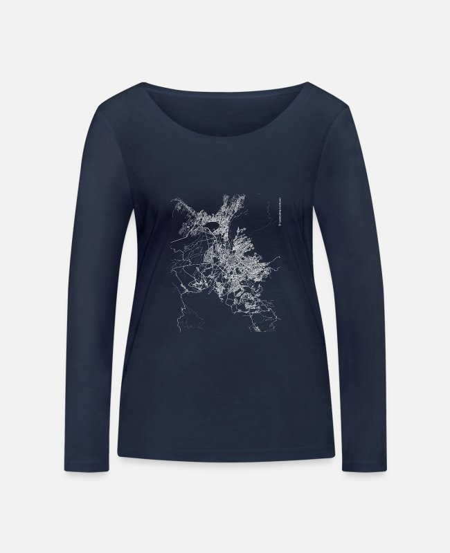 Design Long-Sleeved Shirts - Minimal Arequipa city map and streets - Women's Organic Longsleeve Shirt navy