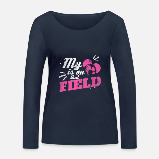 Stadium Long sleeve shirts - My heart is on the football field - gift - Women's Organic Longsleeve Shirt navy