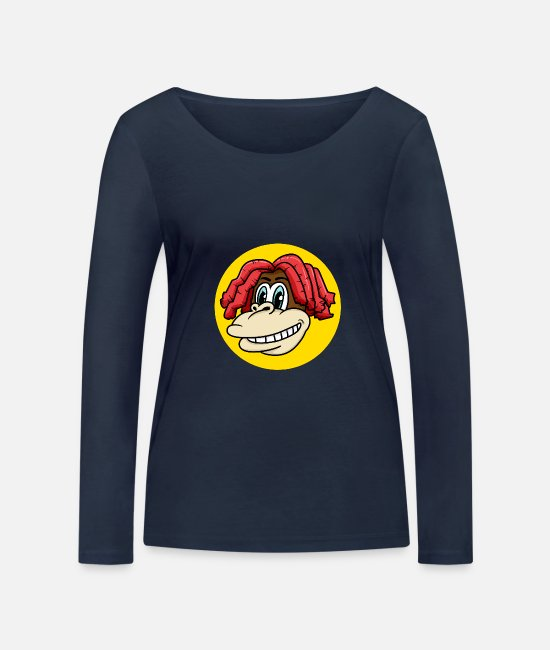 Easter Long-Sleeved Shirts - Monkey face with cool hair for monkey fans - Women's Organic Longsleeve Shirt navy