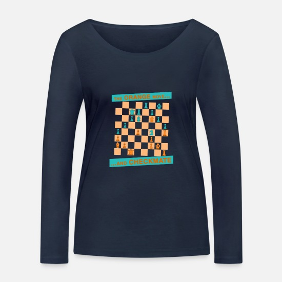 Checkmate Long Sleeve Shirts - The ORANGE move ... and CHECKMATE - Canton - Women's Organic Longsleeve Shirt navy