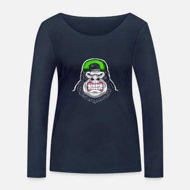 Gorillagesicht Gorilla Scary Face Cartoon - Frauen Bio Langarmshirt