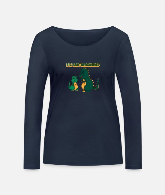 Primeval Times Long-Sleeved Shirts - Big Brothersaurus Dino T-Rex Gift - Women's Organic Longsleeve Shirt navy
