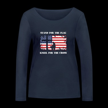 Stand For The Patriotic Kneel For The Cross Patriot - Women's Organic Longsleeve Shirt by Stanley & Stella
