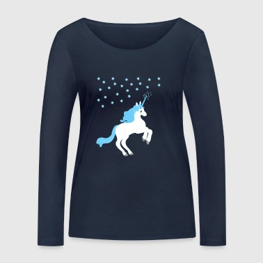 Unicorn blue white with starry sky - Women's Organic Longsleeve Shirt by Stanley & Stella
