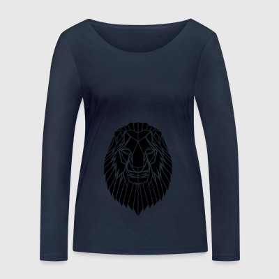 Edgy Geometric safari Lion Print by Stencilize - Women's Organic Longsleeve Shirt by Stanley & Stella
