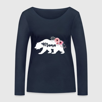 Floral Mama Bear. New Mama Announcement. Camping - Women's Organic Longsleeve Shirt by Stanley & Stella