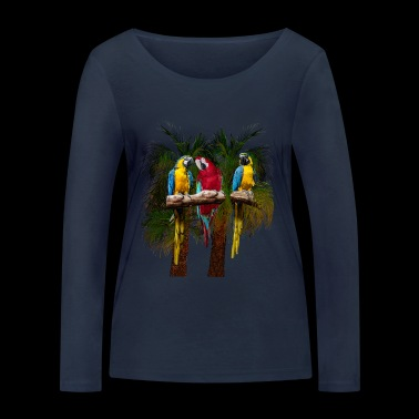 Three macaw parrots in front of palm trees - Women's Organic Longsleeve Shirt by Stanley & Stella