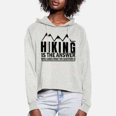Hiking Hiking, climbing, climb, walking, mountain, hike, - Women's Cropped Hoodie