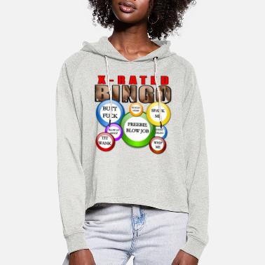 Naughty X Rated Sexy Bingo Naughty fun game with balls - Women's Cropped Hoodie