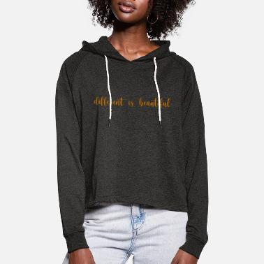 Minimal different is beautiful, Spruch, Lineart - Frauen Cropped Hoodie