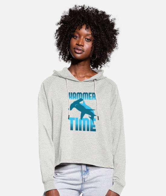 Shark Hoodies & Sweatshirts - Hammer Time - Hammerhead Shark - Women's Cropped Hoodie heather oatmeal