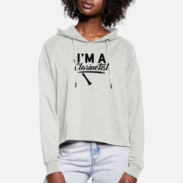 I Love Music I am a clarinet player clarinet player - Women's Cropped Hoodie