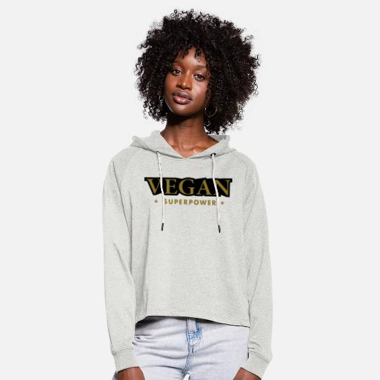 Love Hoodies & Sweatshirts - VEGAN SUPER POWER - Women's Cropped Hoodie heather oatmeal
