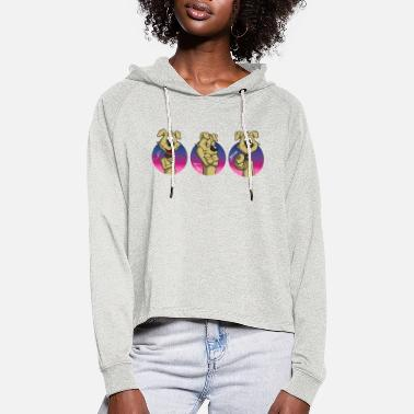Cartoon dog in sign language I love you - Women's Cropped Hoodie