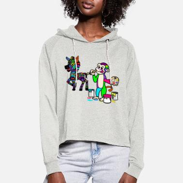 Paint Brush paint child children toddler kindergarten school child - Women's Cropped Hoodie